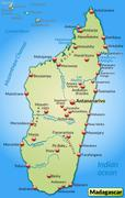 map of madagascar as an overview map in pastel green - stock illustration