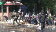 Stock Video Footage of PROTESTERS RIOT POLICE CHAOS