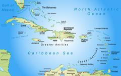 map of antilles as an overview map in pastel green - stock illustration