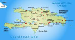 Map of hispaniola as an overview map in pastel green Stock Illustration