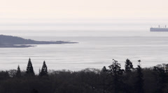 Ship Entering Haro Strait from Mount Tolmie in Victoria Time Lapse Stock Footage