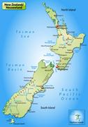 Map of new zealand as an overview map in pastel green Stock Illustration