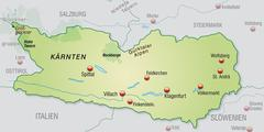 map of kaernten as an overview map in pastel green - stock illustration