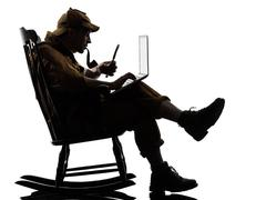 Sherlock holmes silhouette computing Stock Photos