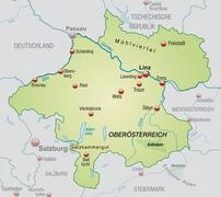 Stock Illustration of map of upper austria as an overview map in pastel green