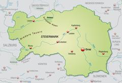 Stock Illustration of map of styria as an overview map in pastel green