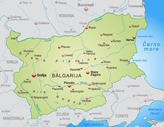 map of bulgaria as an overview map in pastel green - stock illustration