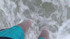 Feet in surf Stock Footage