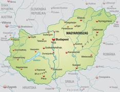 Map of hungary as an overview map in pastel green Stock Illustration