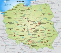 Map of poland as an overview map in pastel green Stock Illustration