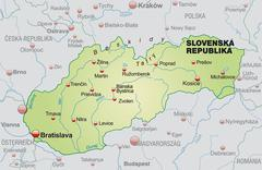 map of slovakia as an overview map in pastel green - stock illustration