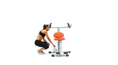 Athletic young woman on hydraulic exerciser Stock Footage