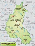 map of champagne-ardenne as an overview map in pastel green - stock illustration