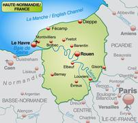 map of upper normandy as an overview map in pastel green - stock illustration