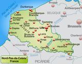 Map of north-pas-de-calais Stock Illustration