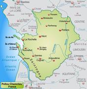 map of poitou-charentes - stock illustration