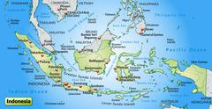 Map of indonesia as an overview map in pastel green Stock Illustration
