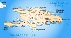 Map of hispaniola as an overview map in pastel orange Stock Illustration