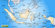 Stock Illustration of map of indonesia as an overview map in pastel orange
