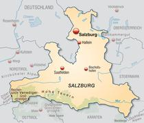 map of salzburg as an overview map in pastel orange - stock illustration