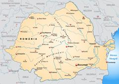 Map of romania as an overview map in pastel orange Stock Illustration
