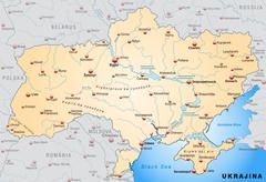 Map of ukraine as an overview map in pastel orange Stock Illustration