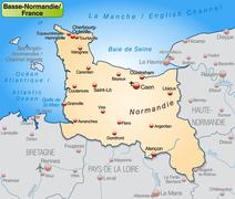 map of lower normandy as an overview map in pastel orange - stock illustration