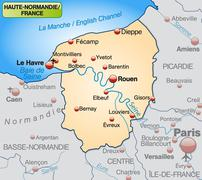 Map of upper normandy as an overview map in pastel orange Stock Illustration