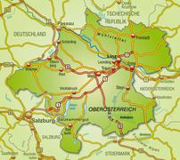 Stock Illustration of map of upper austria with highways