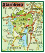 map of starnberg with highways - stock illustration