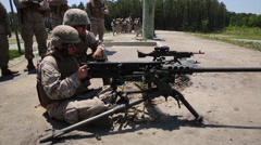 Live fire exercise with the M-240 and .50-caliber machine guns Stock Footage