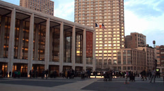 View of Metropolitan Opera House at Lincoln Center. NYC, USA. Stock Footage