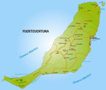Map of fuerteventura with highways Stock Illustration