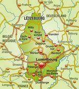 Stock Illustration of map of luxembourg with highways