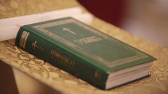 Closeup of Holy bible Russian language. Sequence Stock Footage
