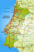 Map of portugal with highways Stock Illustration