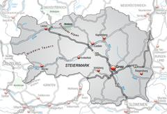 map of styria with highways in gray - stock illustration