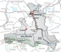 map of salzburg with highways in gray - stock illustration