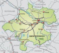 Map of upper austria Stock Illustration