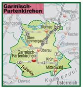 map of garmisch-partenkirchen with highways in pastel green - stock illustration