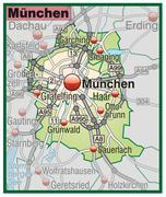 Stock Illustration of map of munich with highways in pastel green