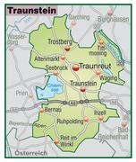 map of traunstein with highways in pastel green - stock illustration