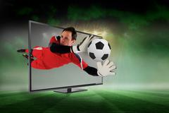 Fit goal keeper saving goal through tv Stock Illustration