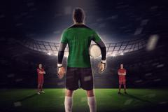 Goalie facing opposition - stock illustration