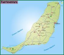 Map of fuerteventura with highways in pastel green Stock Illustration