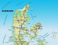 Map of denmark with highways in pastel green Stock Illustration