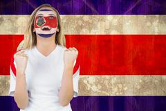 Stock Illustration of Excited costa rica fan in face paint cheering