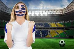 Stock Illustration of Excited fan in uruguay face paint cheering