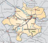 map of upper austria with highways - stock illustration
