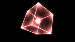 Rotating Glowing Cube Animation - Loop Red Stock Footage